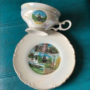 Vermont Souvenir Luster Cup and Saucer